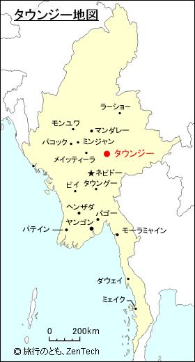 タウンジー 地図 ミャンマー