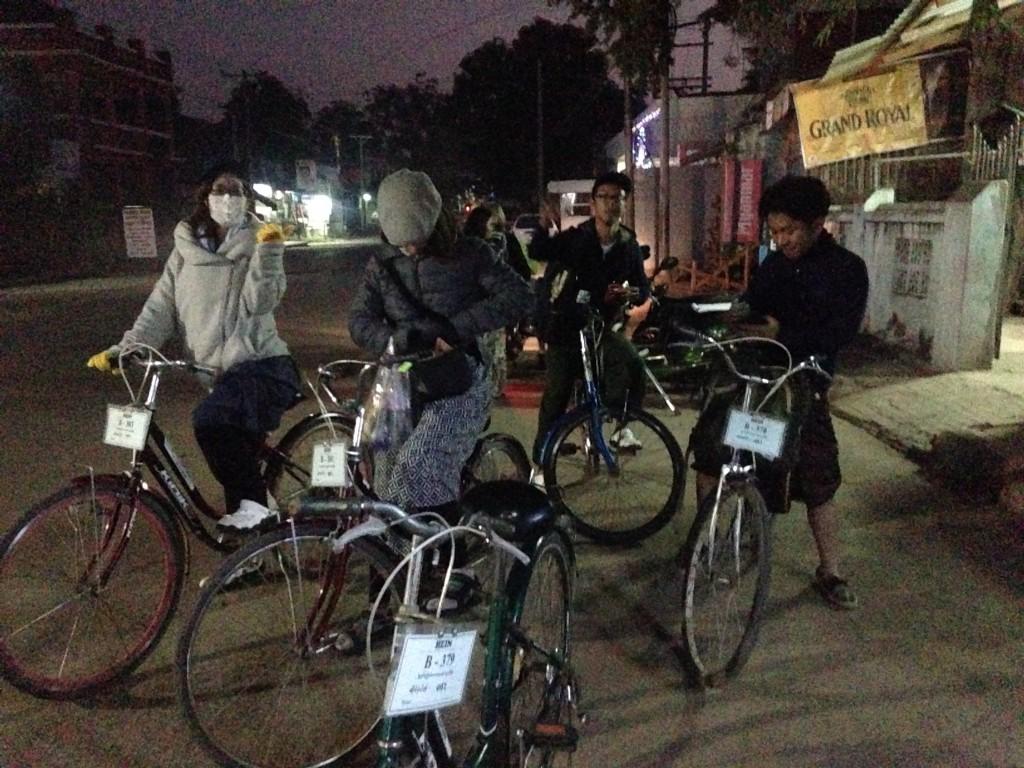夜行バスで到着したまま自転車レンタル