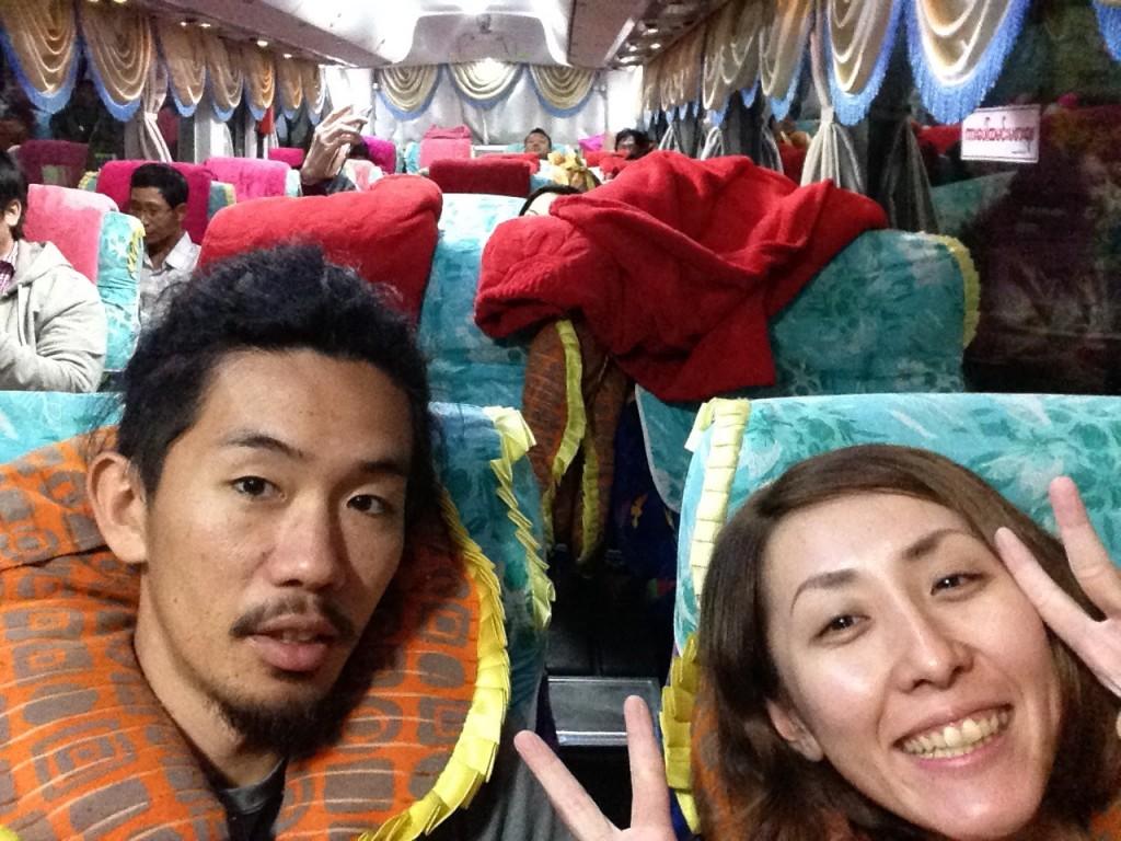 ヤンゴン 長距離バス VIP 3列シート