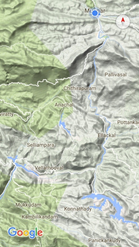 クミリー ムナール ローカルバス 移動 地図