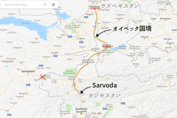 タシュケント,サルボダ,オイベック,国境,ウズベキスタン,タジキスタン,移動