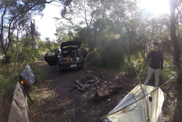 タスマニア キャンプ テント 野営 世界一周