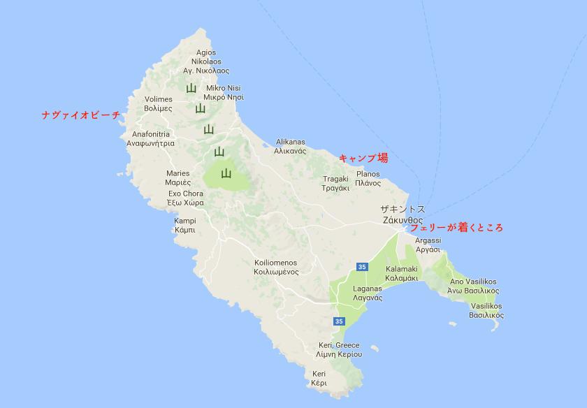 世界一周 ギリシャ ザキントス島 ナヴァイオビーチ 紅の豚 モデル ビーチ 地図