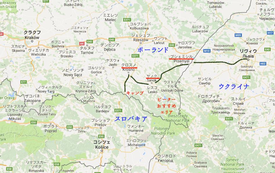 ポーランド ウクライナ 国境 プシェミシル 地図 クロスノ サノク キャンプ