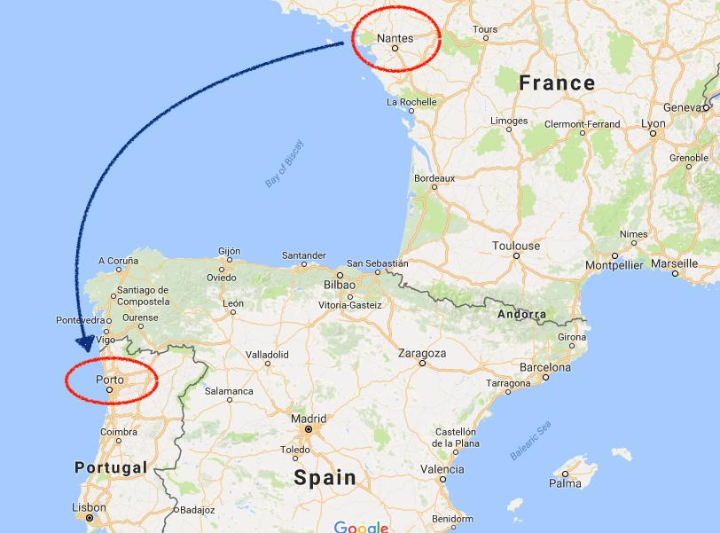 世界一周 フランス ナント ポルトガル ポルト 地図