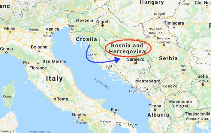 世界一周 ヨーロッパ ボスニアヘルツェゴビナ 地図