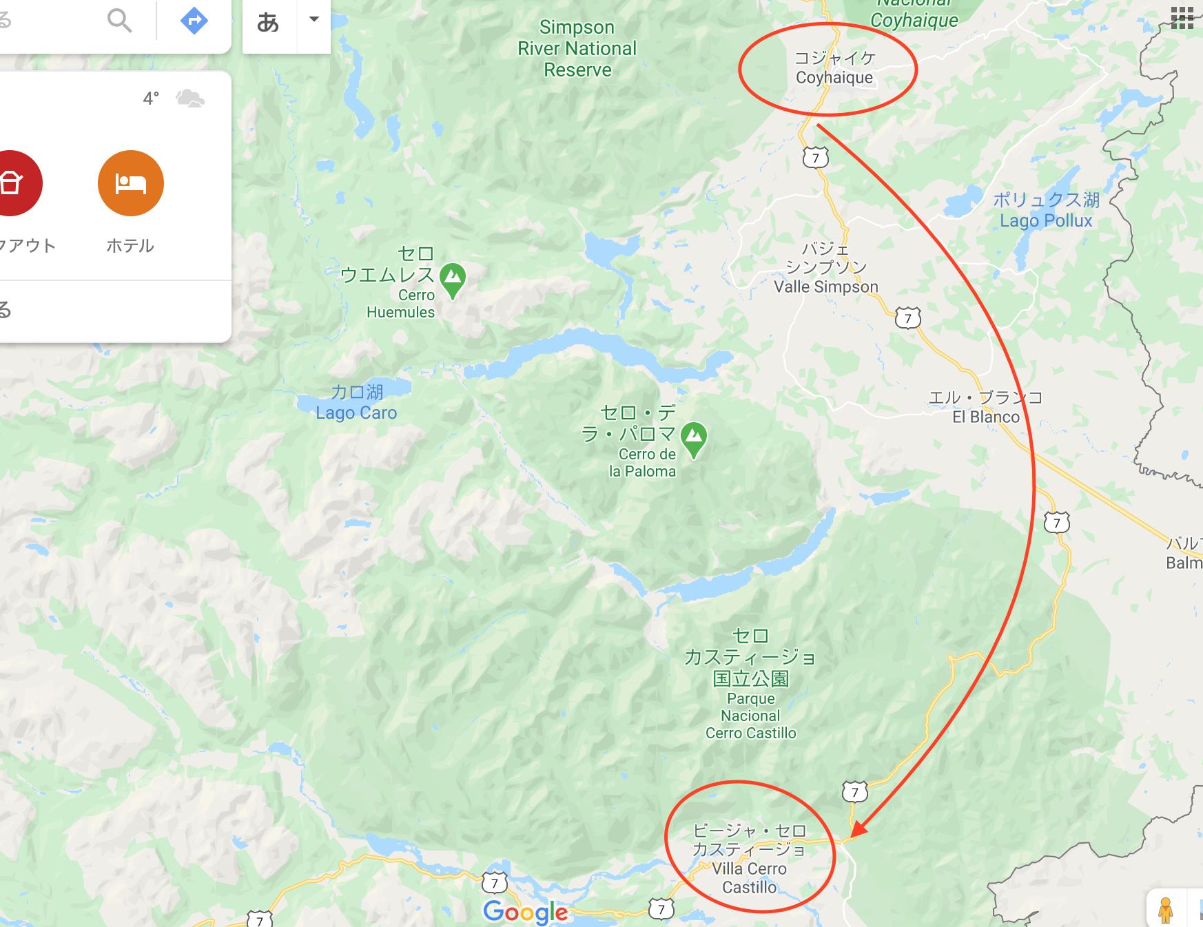 チリ パタゴニア コジャイケ カスティージョ 地図