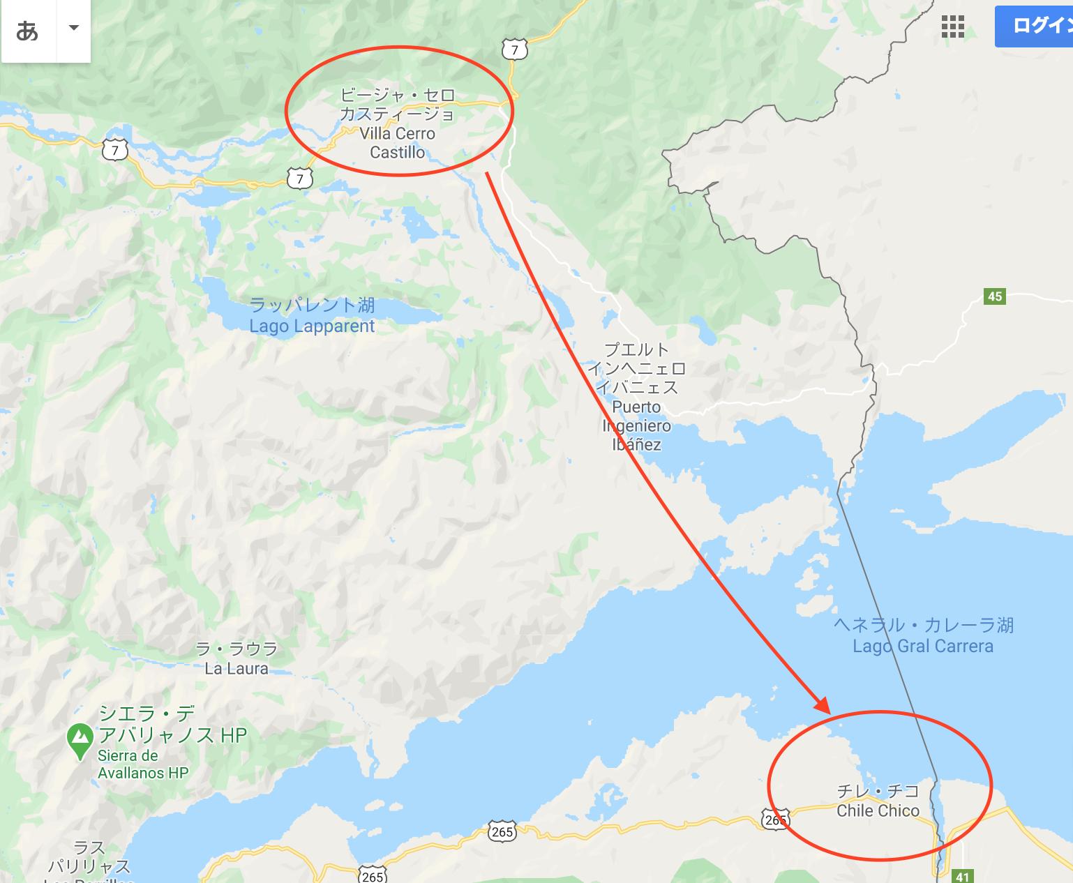 チリ パタゴニア カスティージョ チレチコ ヒッチハイク 地図